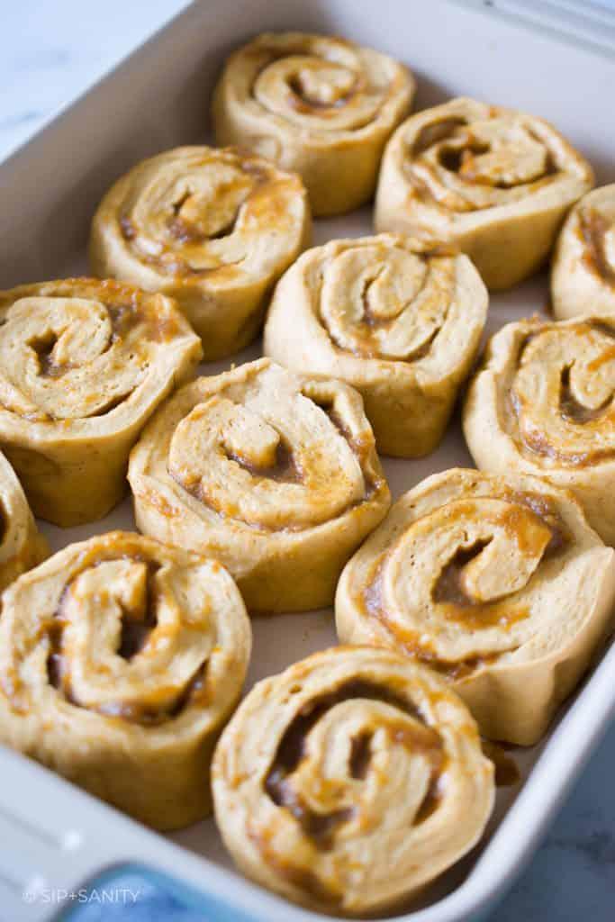 raw cinnamon rolls ready to proof