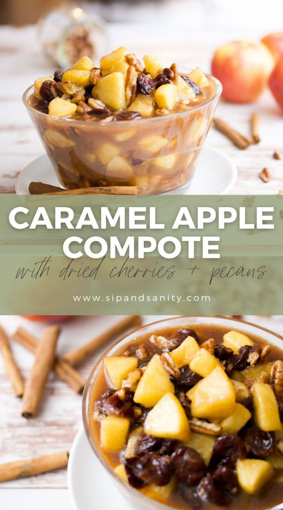 pin image for caramel apple compote