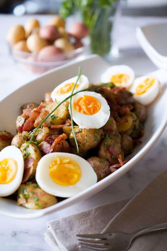 large bowl of german style potato salad