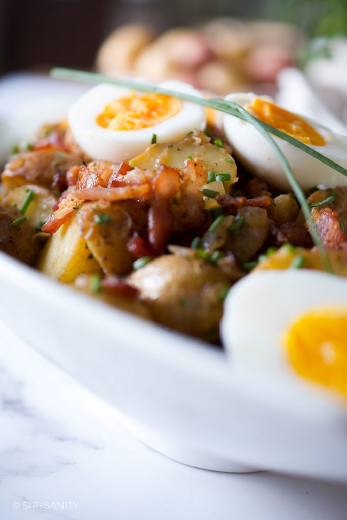 close up of air fryer german style potato salad
