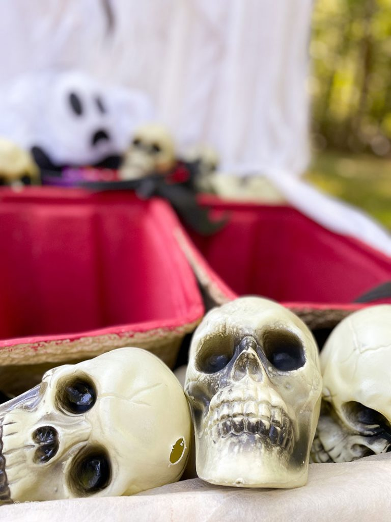 close up of plastic skulls and empty coolers