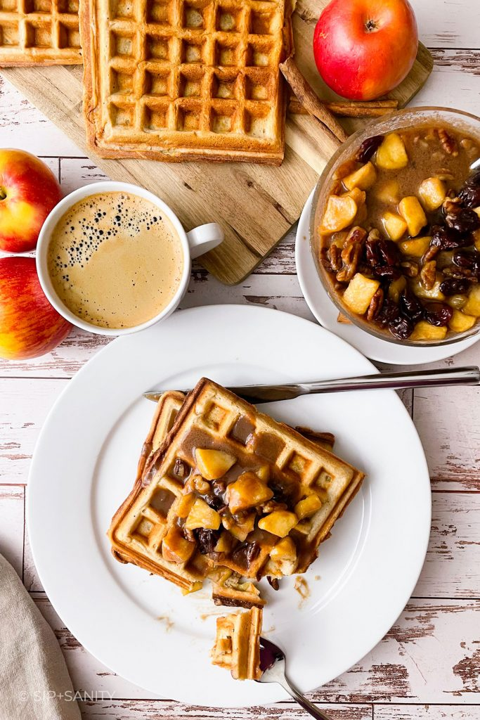 an overhead view of a waffle breakfast