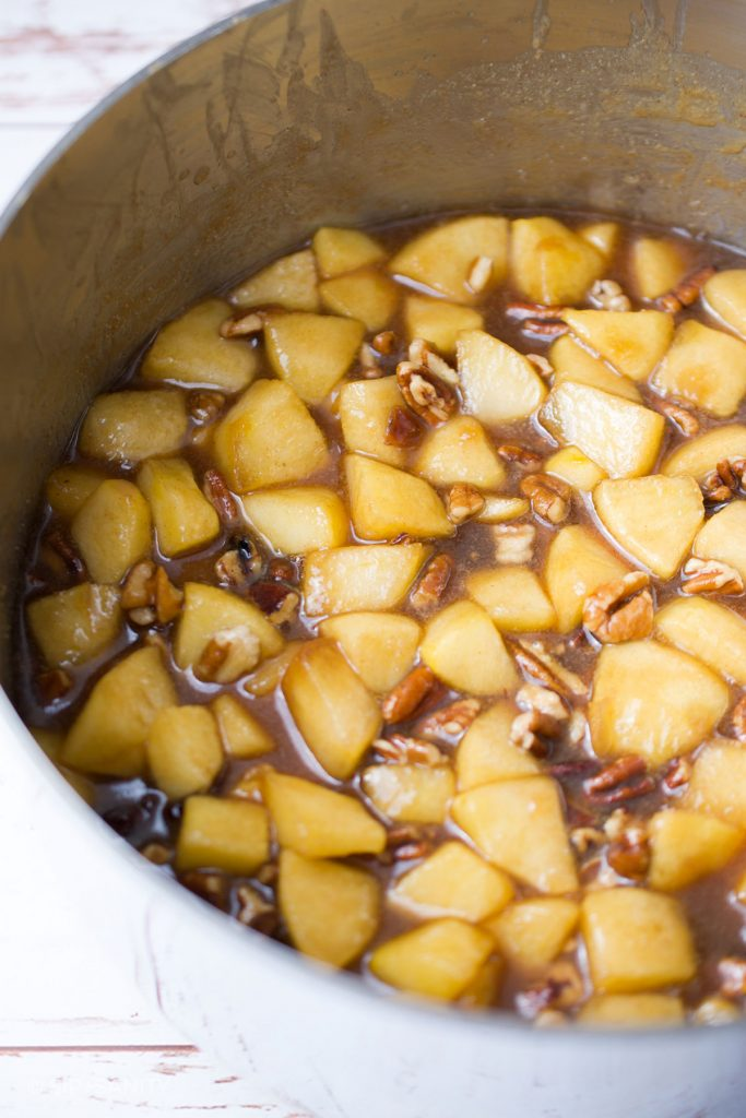 a saucepan with stewing apples