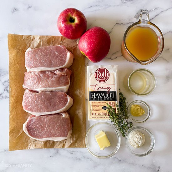 ingredients for havarti and apple stuffed pork chops