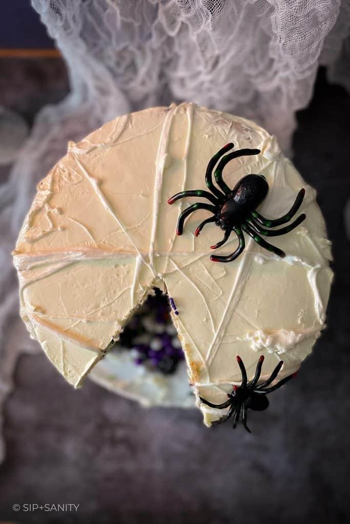 top view of marshmallow spiderweb halloween cake
