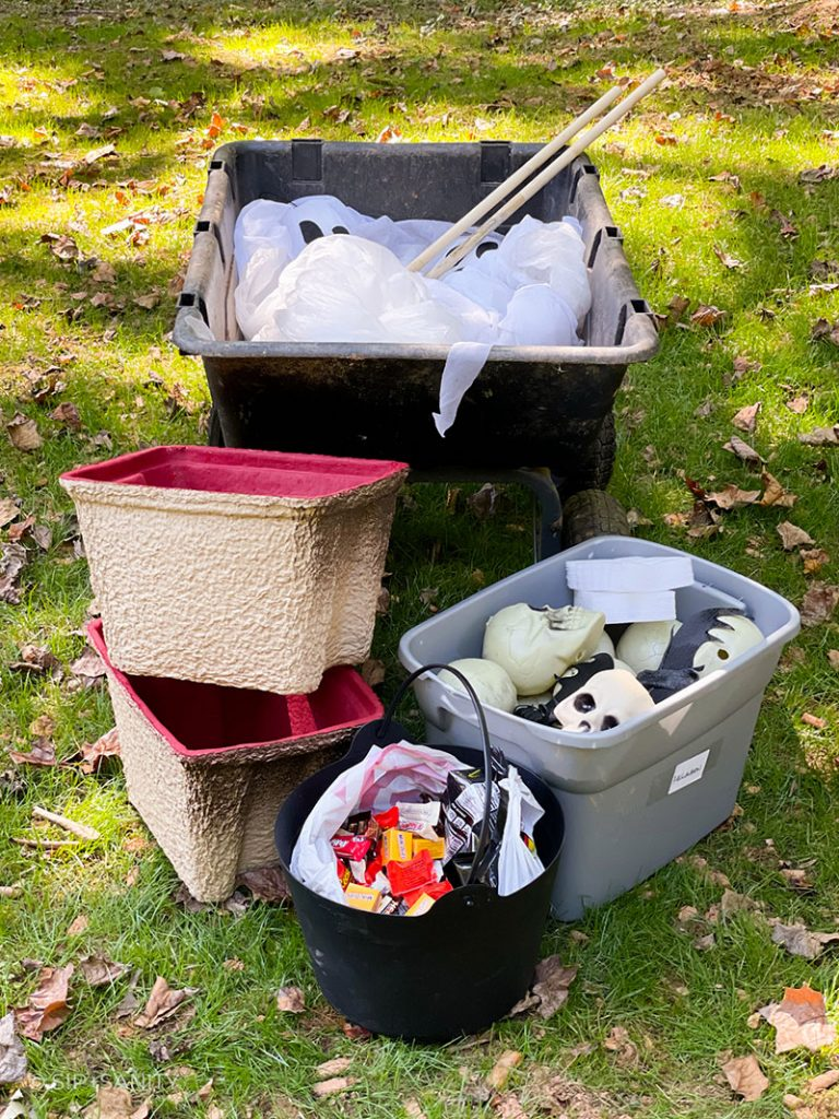 various supplies needed to create a halloween party on wheels