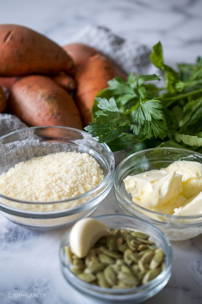 ingredients for hasselback sweet potatoes