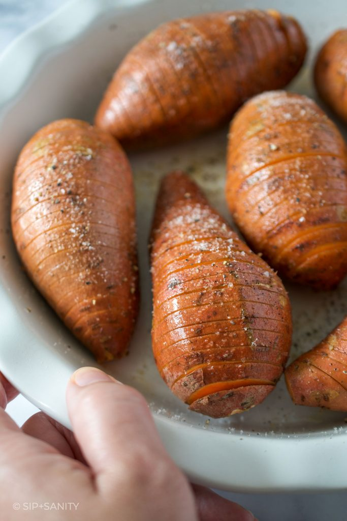 sweet potatoes in a pie plate before cooking